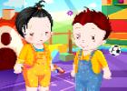 لعبة تلبيس اطفال توائم صغار جدا
